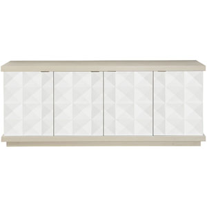 Axiom Linear Gray and Linear White Poplar Solids and Engineered Faux Anigre Veneers Buffet