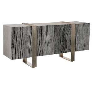 Linea Black and Aluminium Entertainment Console