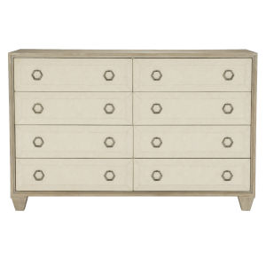 Santa Barbara Sandstone White Oak Veneers and Fabric Dresser