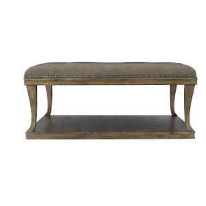 Rustic Patina Peppercorn Upholstered Cocktail Table
