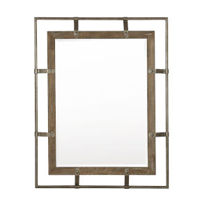 Rustic Patina Peppercorn Wood Frame 38 x 48 Inches Mirror