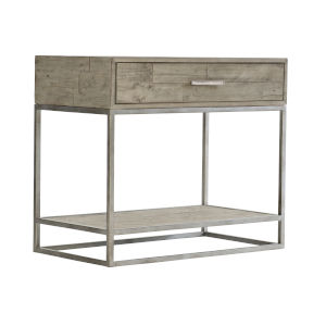 Glazed Silver and Brown Loft Alvar Nightstand in Morel