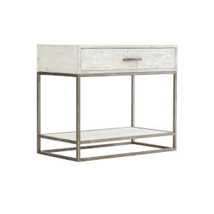 Glazed Silver and White Loft Alvar Nightstand in Brushed White