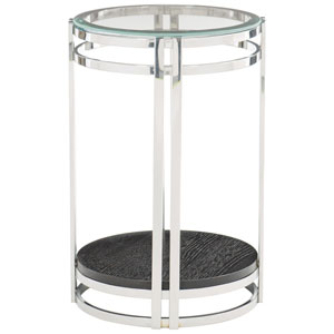 Freestanding Occasional Chrome and Cerused Mink 16-Inch End Table
