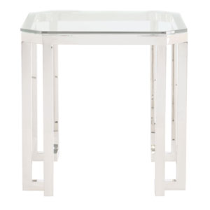 Freestanding Occasional Silver and Clear Merrill Square Metal End Table