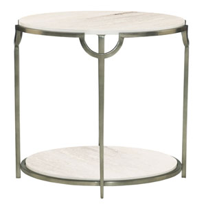 Freestanding Occasional Oxidized Nickel and Carrara Marble Morello Oval Metal End Table