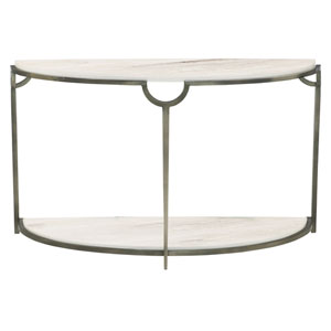 Freestanding Occasional Oxidized Nickel and Carrara Marble 48-Inch Console Table