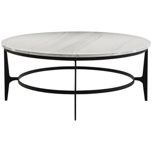 Freestanding Occasional Blackened and Marble Faux Marble and Solid Steel Cocktail Table