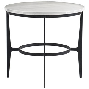 Freestanding Occasional Blackened and Marble Faux Marble and Solid Steel End Table