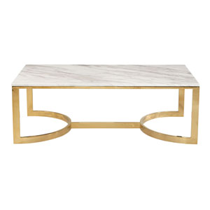 Freestanding Occasional Polished Brass and Jazz White Marble 54-Inch Cocktail Table