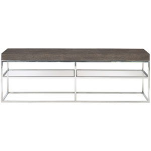 Freestanding Occasional Weathered Charcoal, Chrome and Clear 72-Inch Console Table