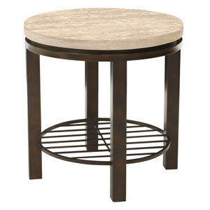Freestanding Occasional Dark Brown and Travertine Stone Tempo Round End Table