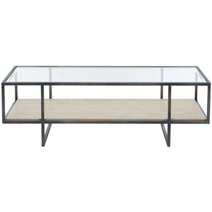 Freestanding Occasional Bronze, White Travertine Stone and Clear 54-Inch Cocktail Table