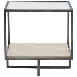 Freestanding Occasional Bronze, White Travertine Stone and Clear End Table