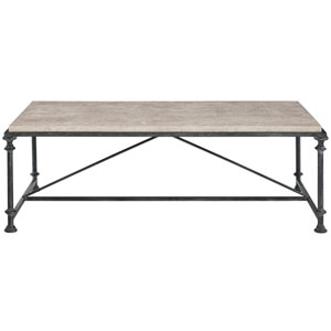 Freestanding Occasional Antique Silver and Travertine Stone 57-Inch Cocktail Table