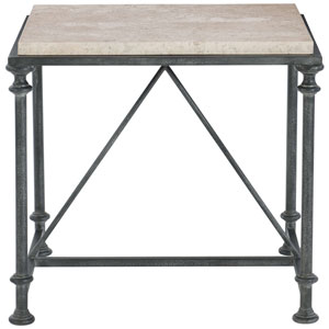 Freestanding Occasional Antique Silver and Travertine Stone 23-Inch End Table