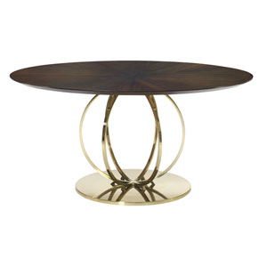 Jet Set Caviar and Brass Plated Sapele Veneers, Solid and Tubular Steel Dining Table