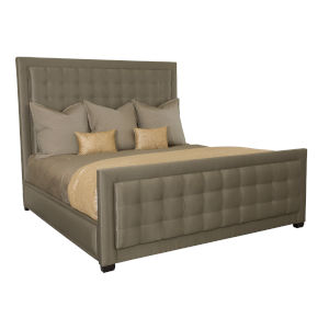 Jet Set Caviar Wood and Fabric 83-Inch Upholstered Panel King Bed