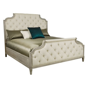 Marquesa Gray Cashmere White Oak Veneers and Fabric 81-Inch Bed