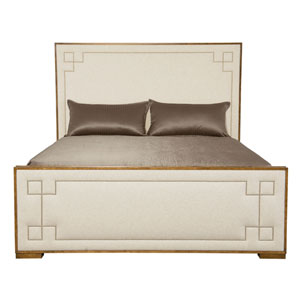 Soho Luxe Dark Caramel Wood and Fabric 84-Inch Bed