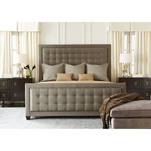 Jet Set Caviar Wood and Fabric 67-Inch Upholstered Panel Queen Bed