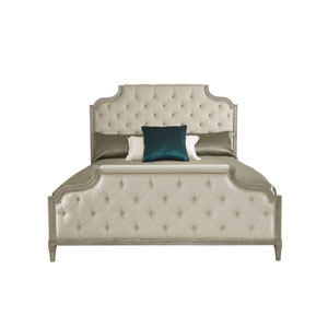 Marquesa Gray Cashmere White Oak Veneers and Fabric 65-Inch Bed