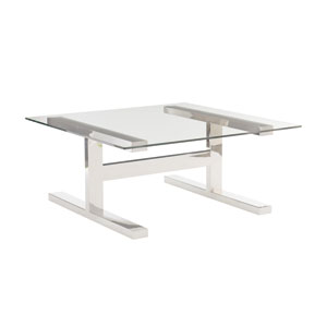 Freestanding Occasional Silver and Clear Aria Metal Cocktail Table