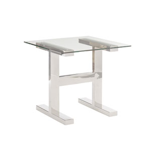 Freestanding Occasional Silver and Clear Aria Metal End Table