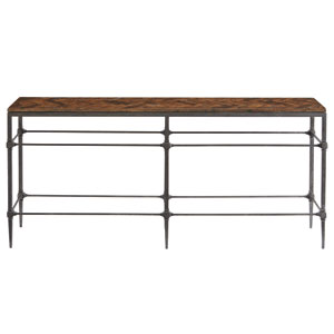 Freestanding Occasional Blackened and Brown Solid Steel and Gemelina Solids Console Table
