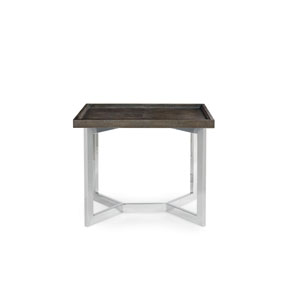 Interiors Dark Brown Shagreen and Polished Stainless Steel 25-Inch End Table