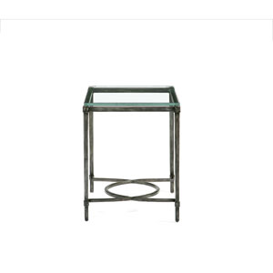 Interiors Blackened Gray and Clear Forged Iron and Glass End Table