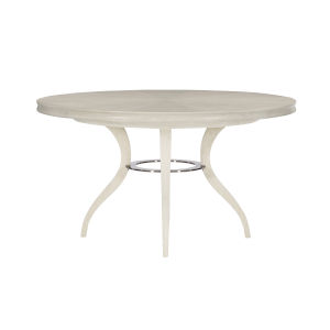 Allure Manor White and Silver Round Dining Table