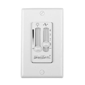 White Dual Fan Light Wall Control