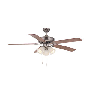 Dalton Nickel 52-Inch Three-Light LED Ceiling Fan