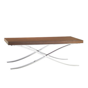 Mirage Walnut and Stainless Steel Loren 56-Inch Cocktail Table