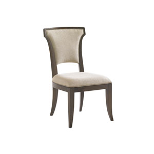 Tower Place Dark Walnut and Beige Seneca Upholstered Side Chair