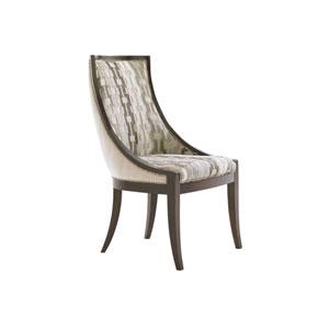 Tower Place Dark Walnut, Beige and Cream Talbott Upholstered Arm Chair