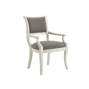 Oyster Bay White and Gray Eastport Dining Arm Chair