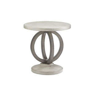 Oyster Bay White and Gray Hewlett Round Side Table