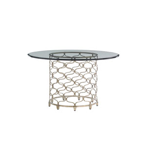 Laurel Canyon Silver Bollinger Round Dining Table With 54 In. Glass Top