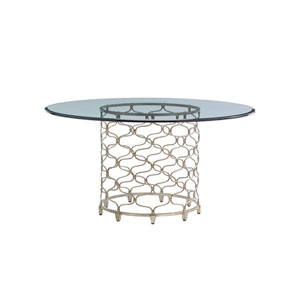 Laurel Canyon Silver Bollinger Round Dining Table With 60 In. Glass Top