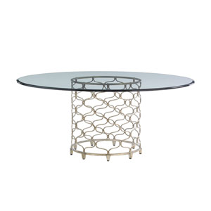 Laurel Canyon Silver Bollinger Round Dining Table With 72 In. Glass Top