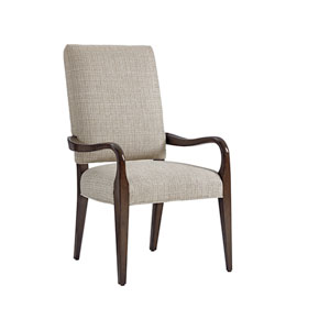 Laurel Canyon Brown and Ivory Sierra Upholstered Dining Arm Chair