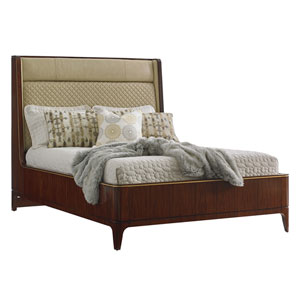 Take Five Brown Empire Upholstered Queen Platform Bed