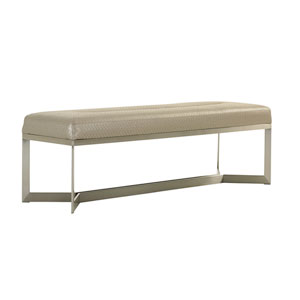 Macarthur Park Faux Leather and Silver Amador Upholstered Bed Bench