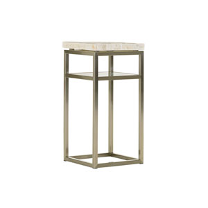 Macarthur Park Faux Leather and Silver Cliffside Night Table