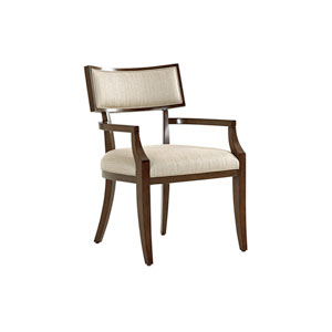 Macarthur Park Beige and Walnut Whittier Dining Arm Chair