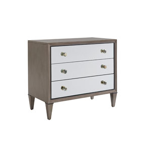 Ariana Gray and White Divonne Mirrored Nightstand