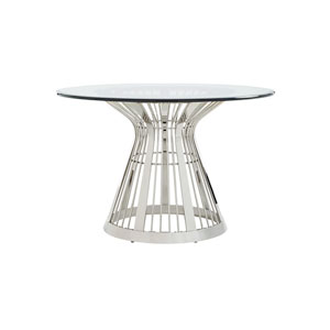 Ariana Silver Riviera Stainless Dining Table With 48 In. Glass Top