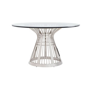 Ariana Silver Riviera Stainless Dining Table With 54 In. Glass Top